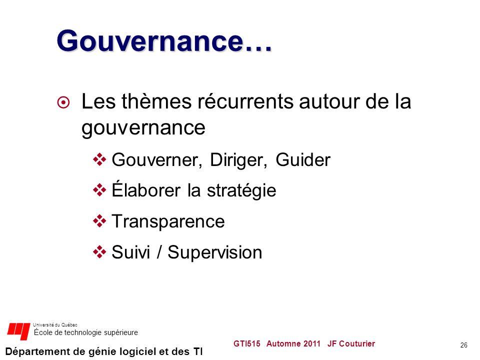 Département de génie logiciel et des TI Université du Québec École de technologie supérieure Gouvernance… Les thèmes récurrents autour de la gouvernan