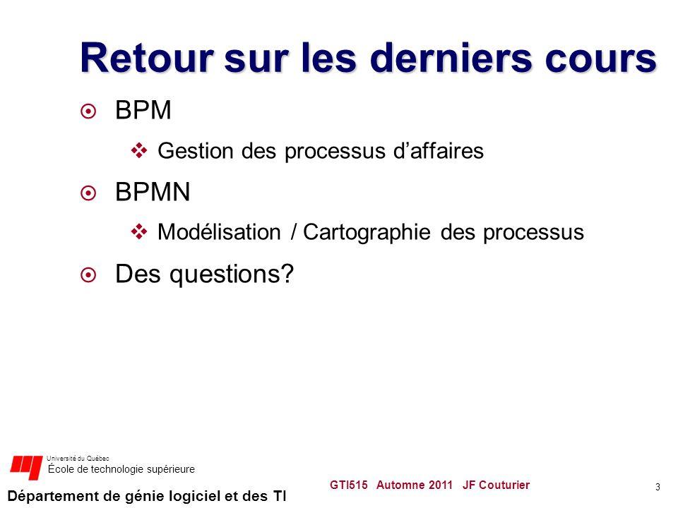 Département de génie logiciel et des TI Université du Québec École de technologie supérieure Retour sur les derniers cours BPM Gestion des processus d