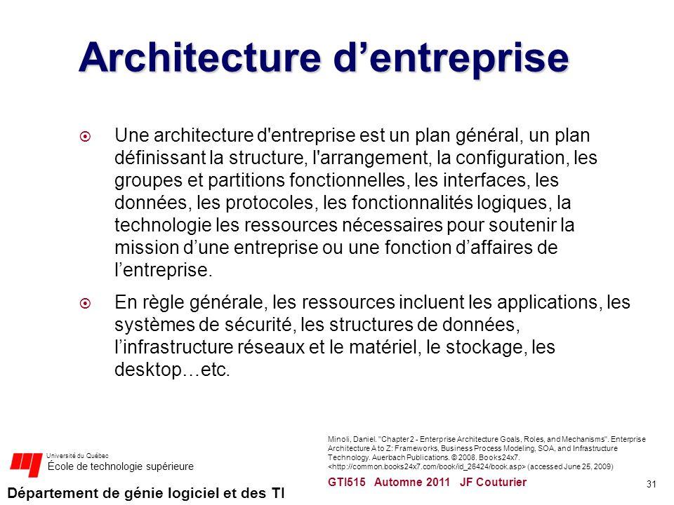 Département de génie logiciel et des TI Université du Québec École de technologie supérieure Architecture dentreprise Une architecture d'entreprise es