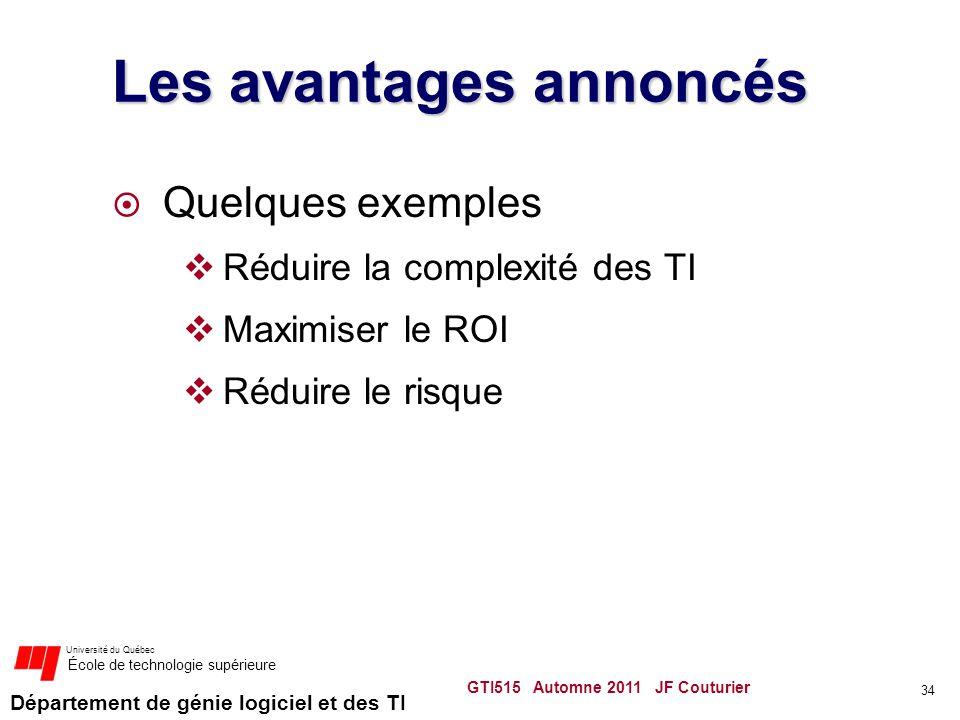 Département de génie logiciel et des TI Université du Québec École de technologie supérieure Les avantages annoncés Quelques exemples Réduire la compl