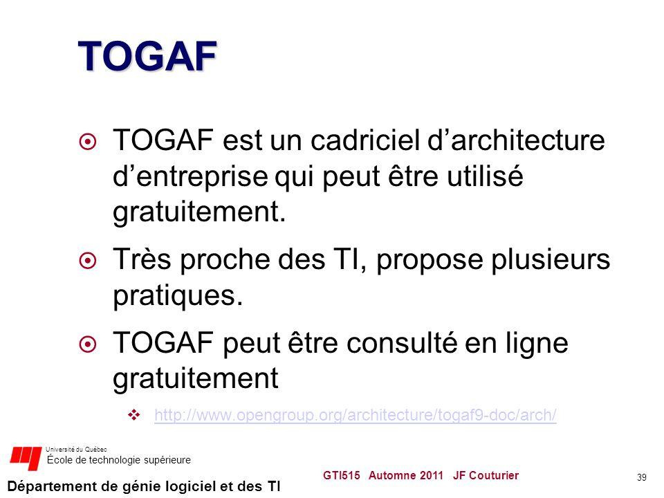 Département de génie logiciel et des TI Université du Québec École de technologie supérieure TOGAF TOGAF est un cadriciel darchitecture dentreprise qu