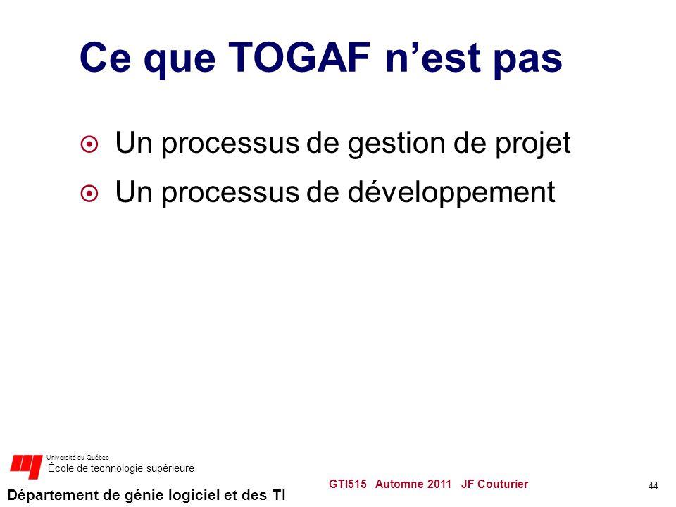 Département de génie logiciel et des TI Université du Québec École de technologie supérieure Ce que TOGAF nest pas Un processus de gestion de projet U