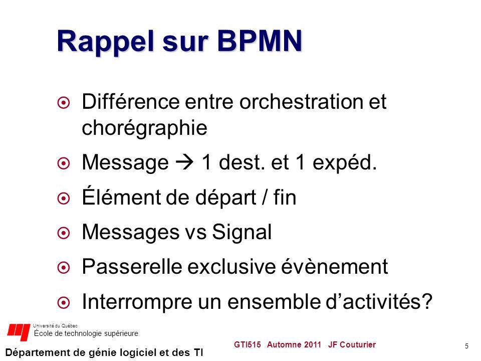 Département de génie logiciel et des TI Université du Québec École de technologie supérieure Rappel sur BPMN Différence entre orchestration et chorégr
