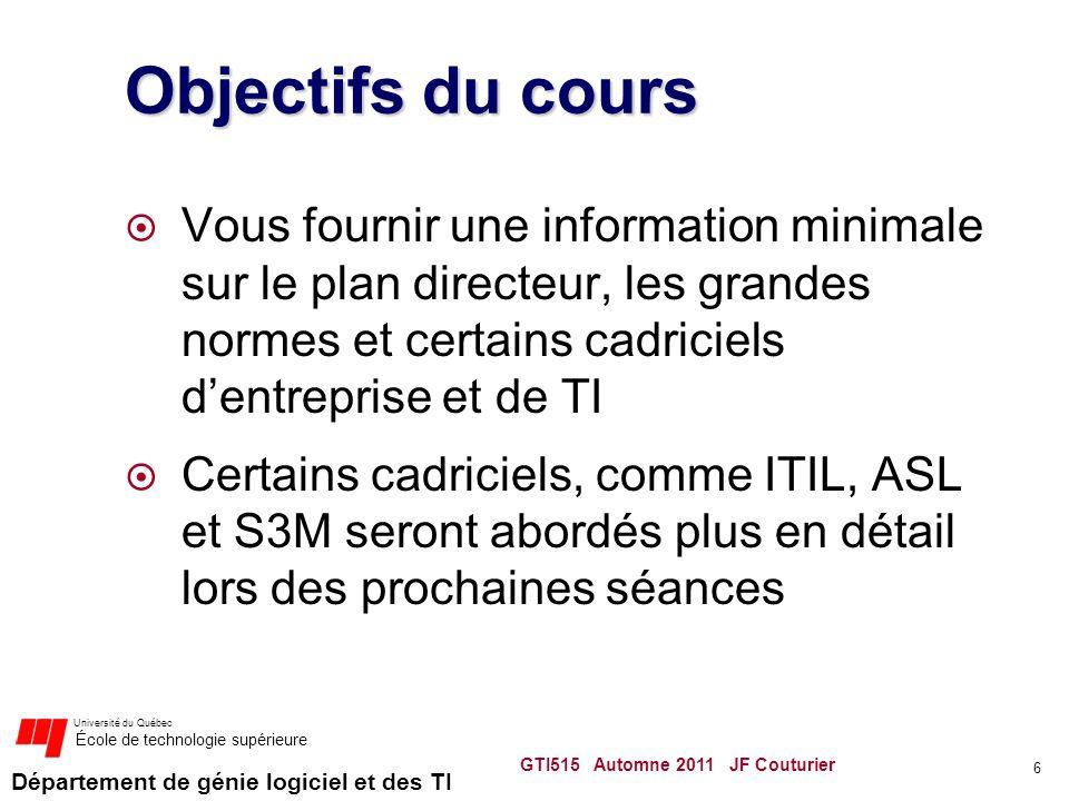 Département de génie logiciel et des TI Université du Québec École de technologie supérieure Objectifs du cours Vous fournir une information minimale