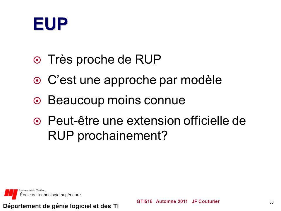 Département de génie logiciel et des TI Université du Québec École de technologie supérieure EUP Très proche de RUP Cest une approche par modèle Beauc
