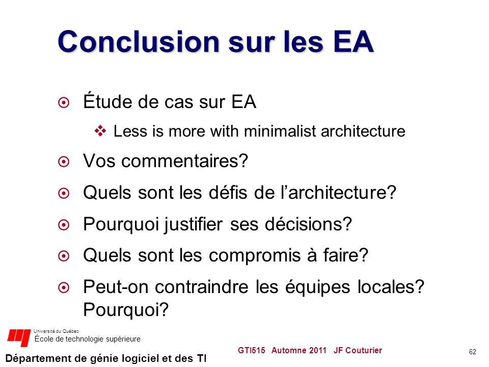 Département de génie logiciel et des TI Université du Québec École de technologie supérieure Conclusion sur les EA Étude de cas sur EA Less is more wi