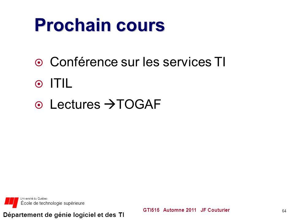 Département de génie logiciel et des TI Université du Québec École de technologie supérieure Prochain cours Conférence sur les services TI ITIL Lectur