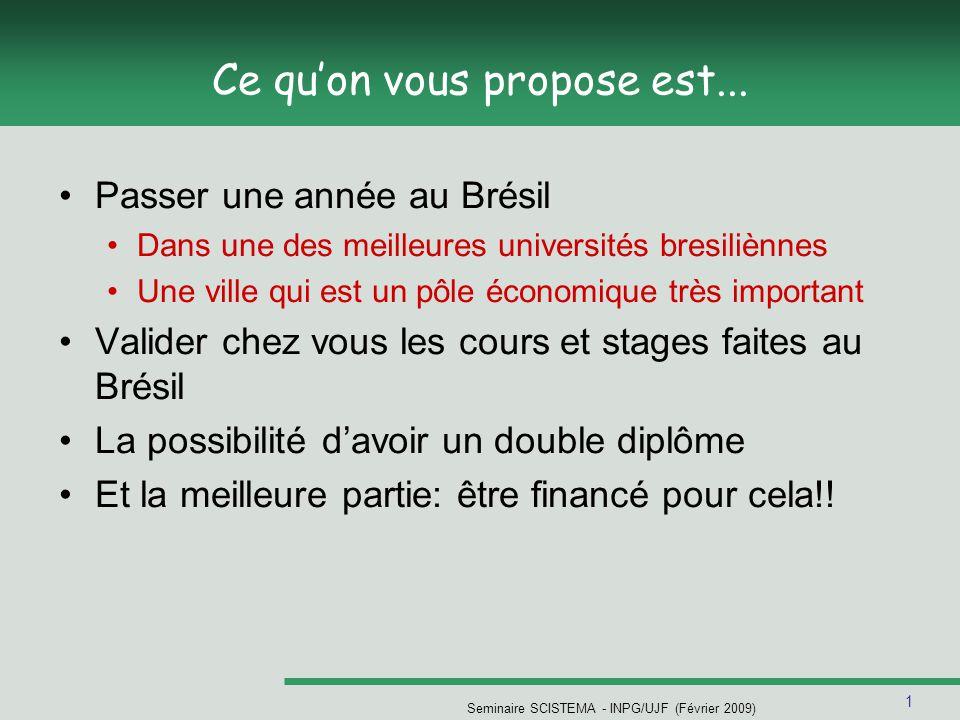 1 Seminaire SCISTEMA - INPG/UJF (Février 2009) Ce quon vous propose est... Passer une année au Brésil Dans une des meilleures universités bresiliènnes