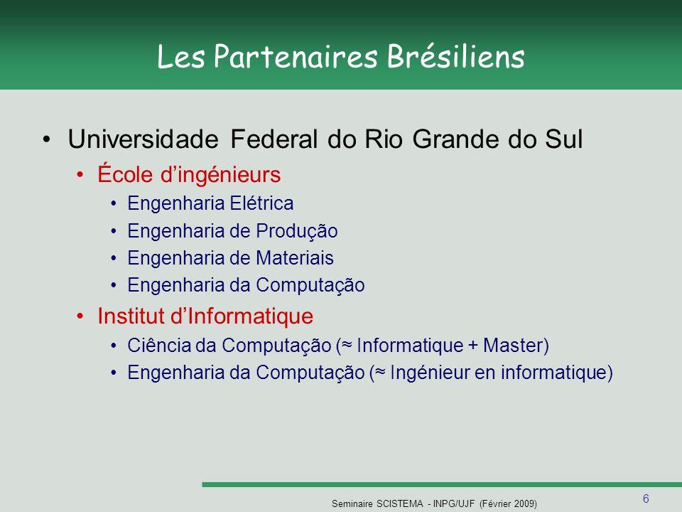 6 Seminaire SCISTEMA - INPG/UJF (Février 2009) Les Partenaires Brésiliens Universidade Federal do Rio Grande do Sul École dingénieurs Engenharia Elétr