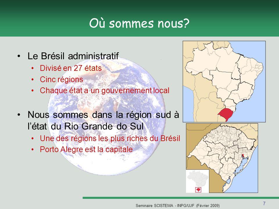 7 Seminaire SCISTEMA - INPG/UJF (Février 2009) Où sommes nous? Le Brésil administratif Divisé en 27 états Cinc régions Chaque état a un gouvernement l
