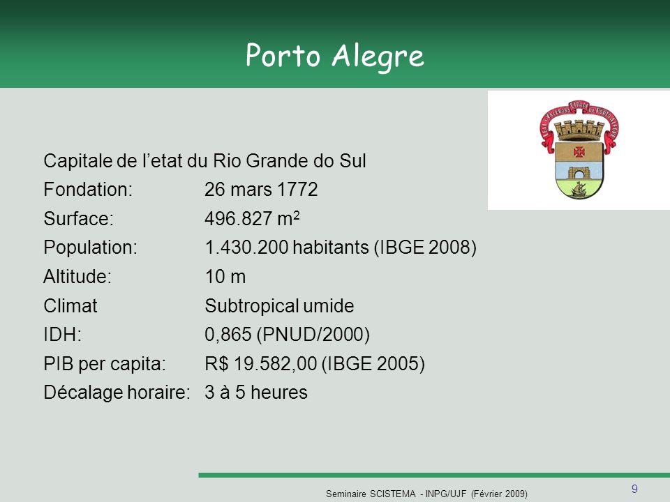 9 Porto Alegre Capitale de letat du Rio Grande do Sul Fondation:26 mars 1772 Surface:496.827 m 2 Population:1.430.200 habitants (IBGE 2008) Altitude:10 m ClimatSubtropical umide IDH:0,865 (PNUD/2000) PIB per capita:R$ 19.582,00 (IBGE 2005) Décalage horaire:3 à 5 heures