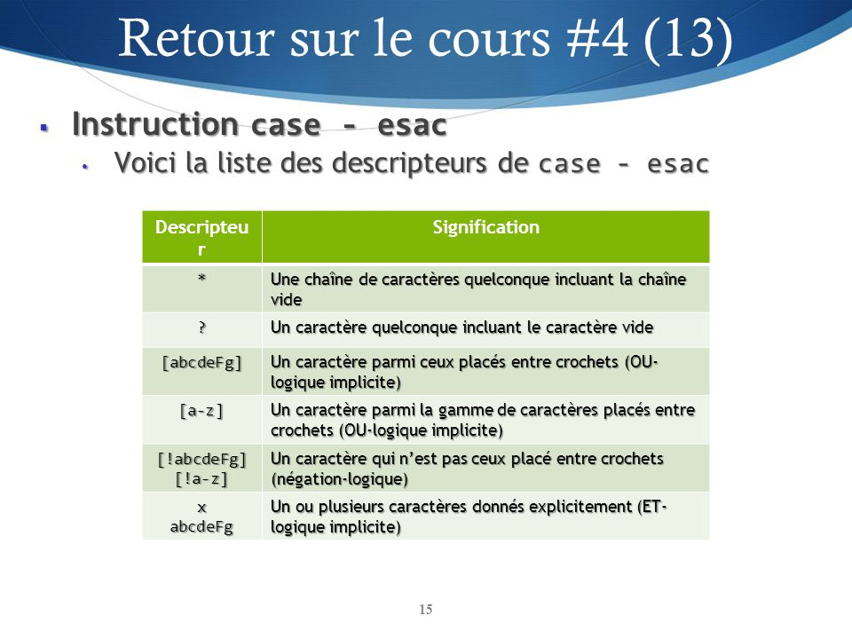 Instruction case - esac Instruction case - esac Voici la liste des descripteurs de case - esac Voici la liste des descripteurs de case - esac 15 Descr