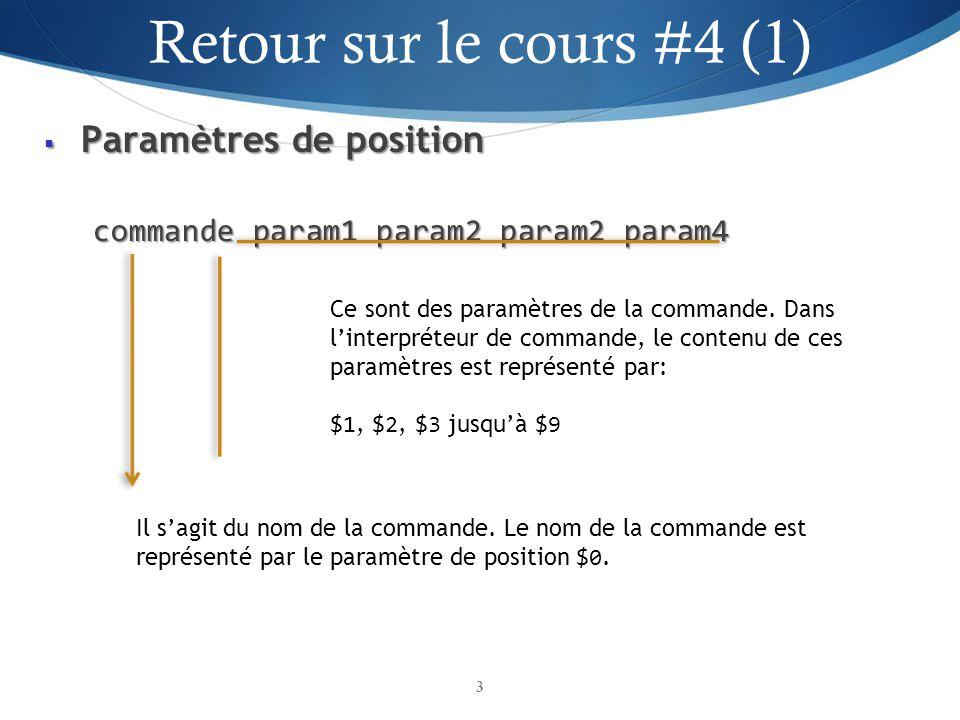 Paramètres de position Paramètres de position commande param1 param2 param2 param4 3 Il sagit du nom de la commande.