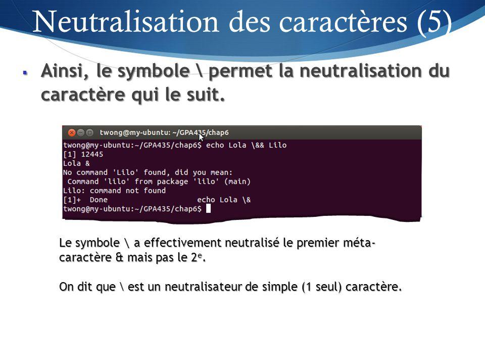 Ainsi, le symbole \ permet la neutralisation du caractère qui le suit.