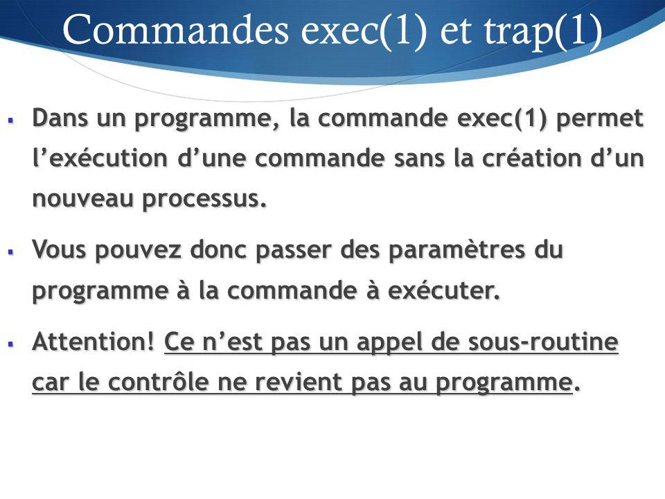 Dans un programme, la commande exec(1) permet lexécution dune commande sans la création dun nouveau processus.