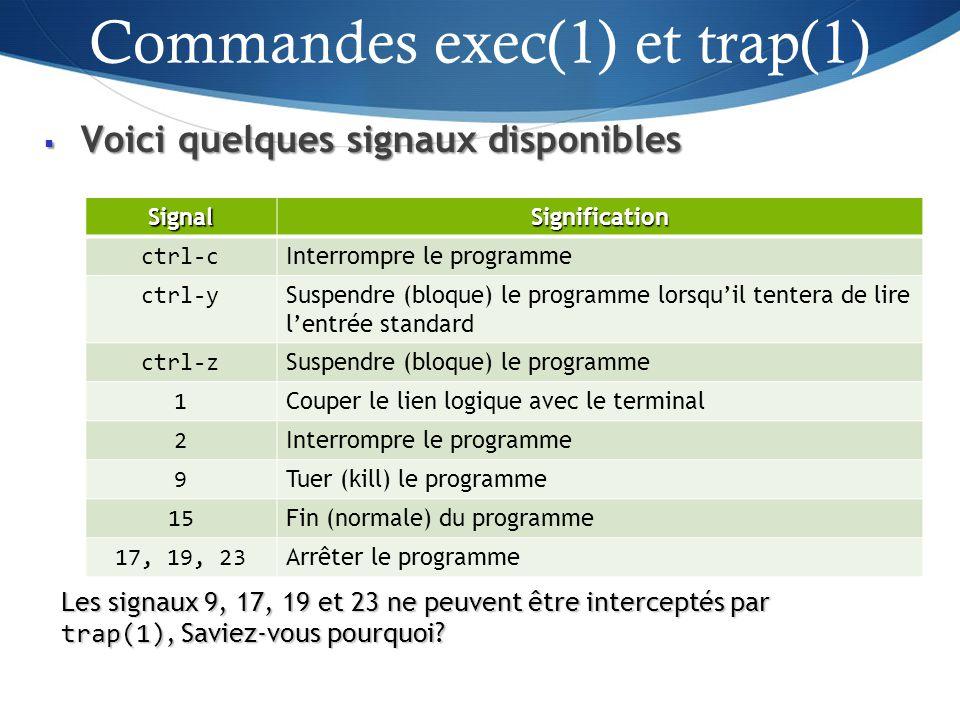 Voici quelques signaux disponibles Voici quelques signaux disponibles 40 SignalSignification ctrl-c Interrompre le programme ctrl-y Suspendre (bloque) le programme lorsquil tentera de lire lentrée standard ctrl-z Suspendre (bloque) le programme 1 Couper le lien logique avec le terminal 2 Interrompre le programme 9 Tuer (kill) le programme 15 Fin (normale) du programme 17, 19, 23 Arrêter le programme Les signaux 9, 17, 19 et 23 ne peuvent être interceptés par trap(1), Saviez-vous pourquoi.