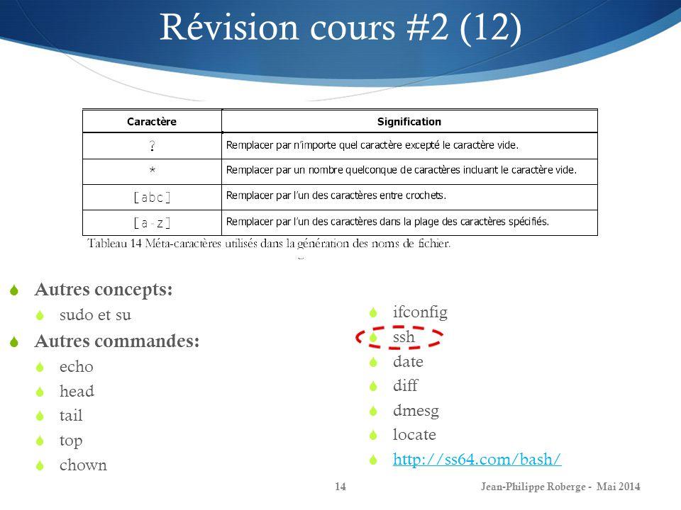 Jean-Philippe Roberge - Mai 201414 Autres concepts: sudo et su Autres commandes: echo head tail top chown ifconfig ssh date diff dmesg locate http://ss64.com/bash/ Révision cours #2 (12)