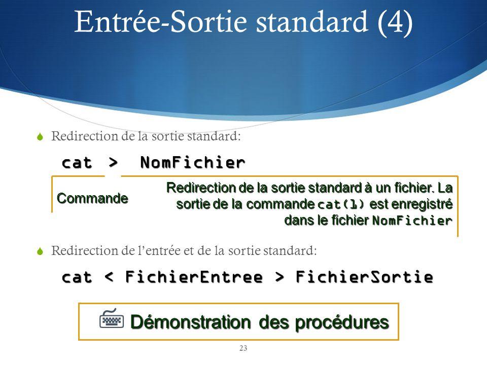 23 Redirection de la sortie standard: cat > NomFichier Redirection de lentrée et de la sortie standard: cat FichierSortie Démonstration des procédures Démonstration des procéduresCommande Redirection de la sortie standard à un fichier.