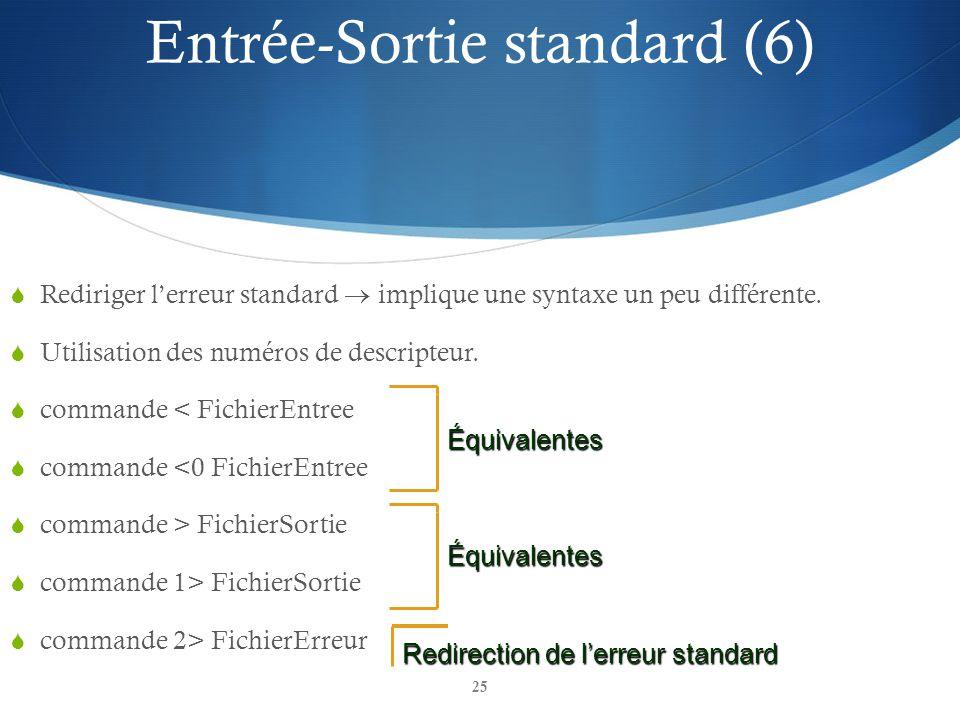 25 Rediriger lerreur standard implique une syntaxe un peu différente. Utilisation des numéros de descripteur. commande < FichierEntree commande <0 Fic