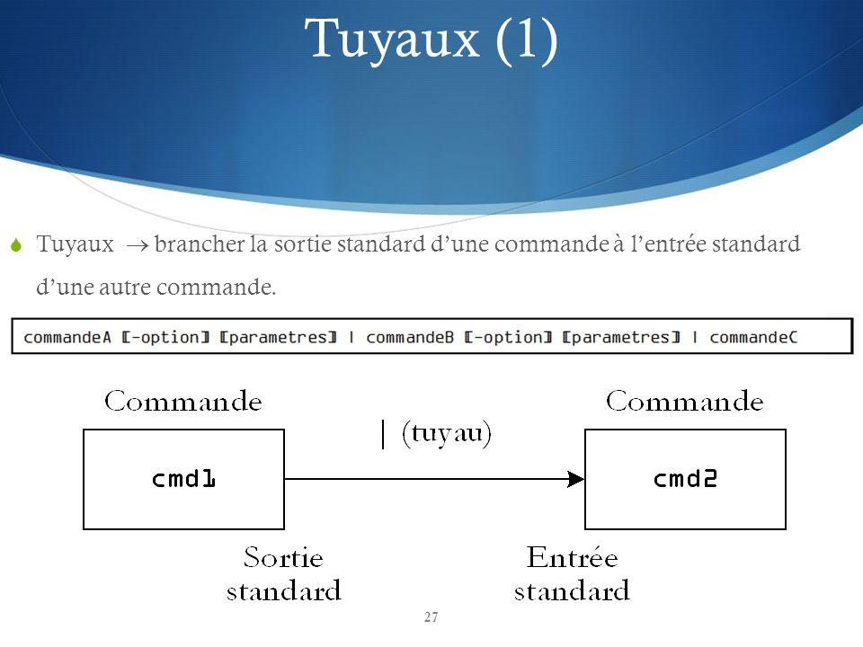 27 Tuyaux brancher la sortie standard dune commande à lentrée standard dune autre commande.