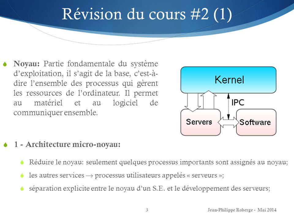 3 1 - Architecture micro-noyau: Réduire le noyau: seulement quelques processus importants sont assignés au noyau; les autres services processus utilisateurs appelés « serveurs »; séparation explicite entre le noyau dun S.E.