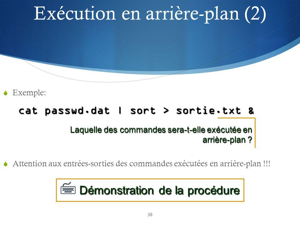 30 Exemple: cat passwd.dat | sort > sortie.txt & Attention aux entrées-sorties des commandes exécutées en arrière-plan !!.