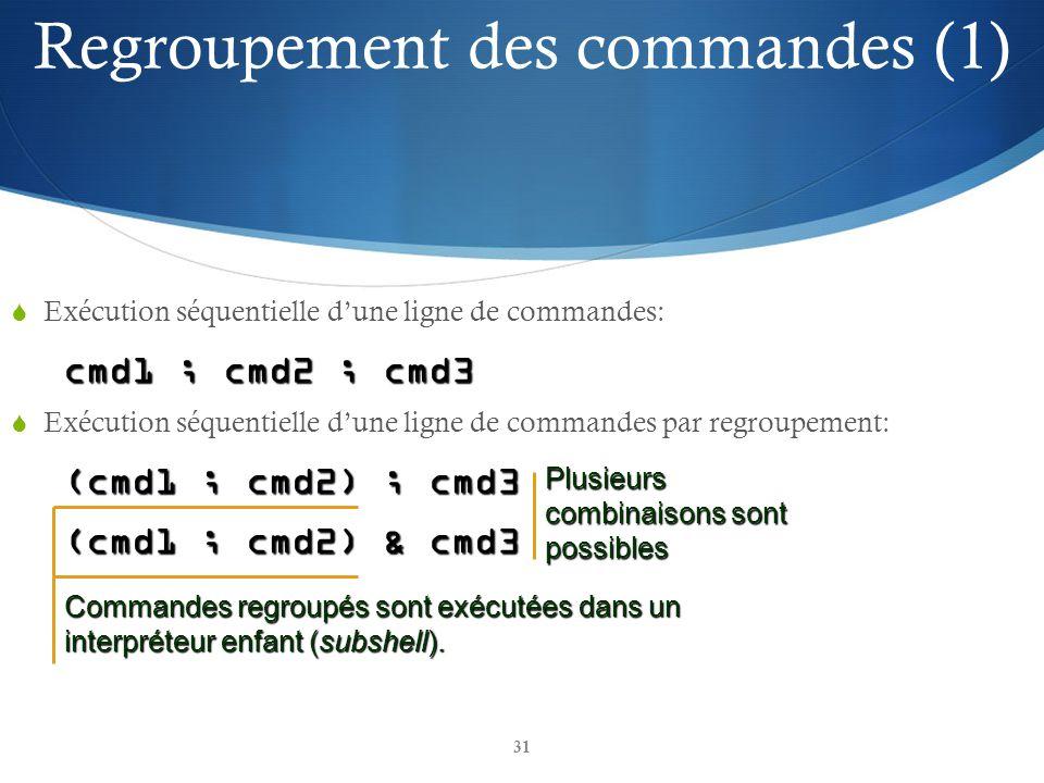 31 Exécution séquentielle dune ligne de commandes: cmd1 ; cmd2 ; cmd3 Exécution séquentielle dune ligne de commandes par regroupement: (cmd1 ; cmd2) ; cmd3 (cmd1 ; cmd2) & cmd3 Commandes regroupés sont exécutées dans un interpréteur enfant (subshell).