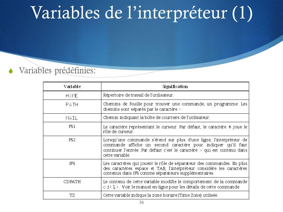 36 Variables prédéfinies: Variables de linterpréteur (1)