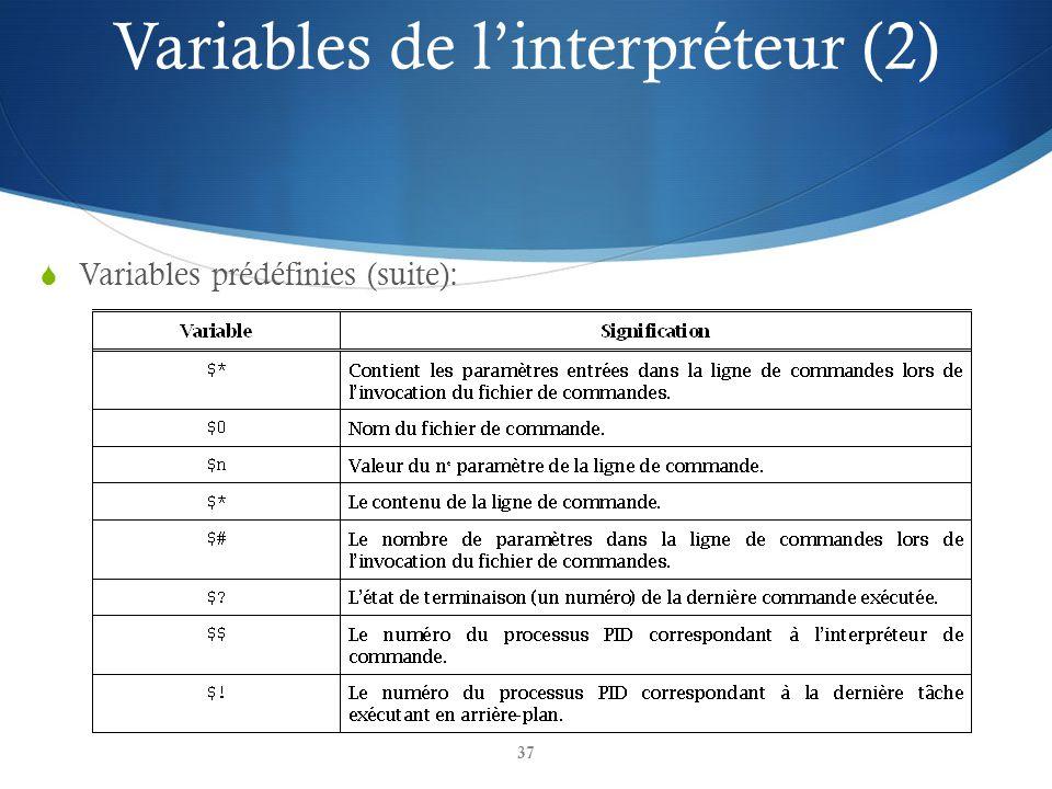 37 Variables prédéfinies (suite): Variables de linterpréteur (2)