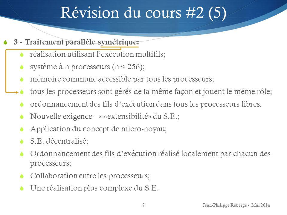 Jean-Philippe Roberge - Mai 20147 3 - Traitement parallèle symétrique: réalisation utilisant lexécution multifils; système à n processeurs (n 256); mé