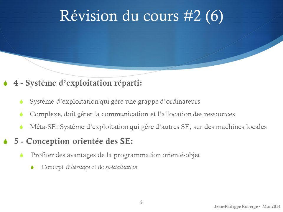 8 4 - Système dexploitation réparti: Système dexploitation qui gère une grappe dordinateurs Complexe, doit gérer la communication et lallocation des r