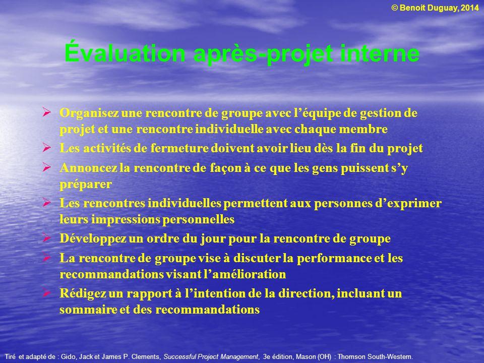 © Benoit Duguay, 2014 Organisez une rencontre de groupe avec léquipe de gestion de projet et une rencontre individuelle avec chaque membre Les activit