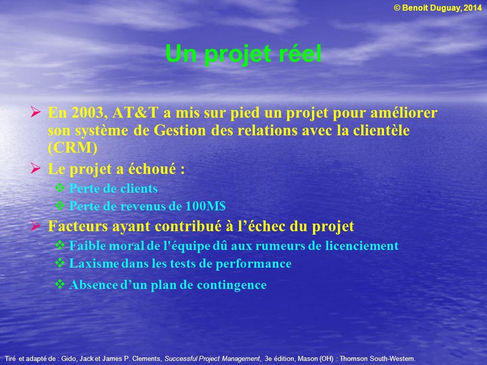 © Benoit Duguay, 2014 Tiré et adapté de : Gido, Jack et James P. Clements, Successful Project Management, 3e édition, Mason (OH) : Thomson South-Weste