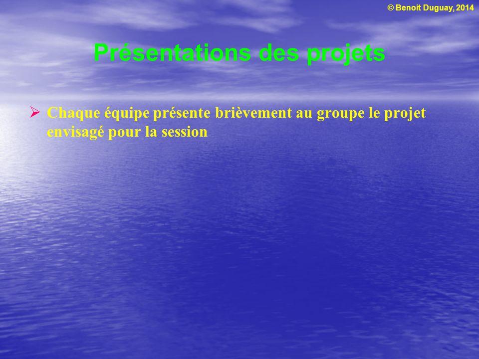 © Benoit Duguay, 2014 Présentations des projets Chaque équipe présente brièvement au groupe le projet envisagé pour la session