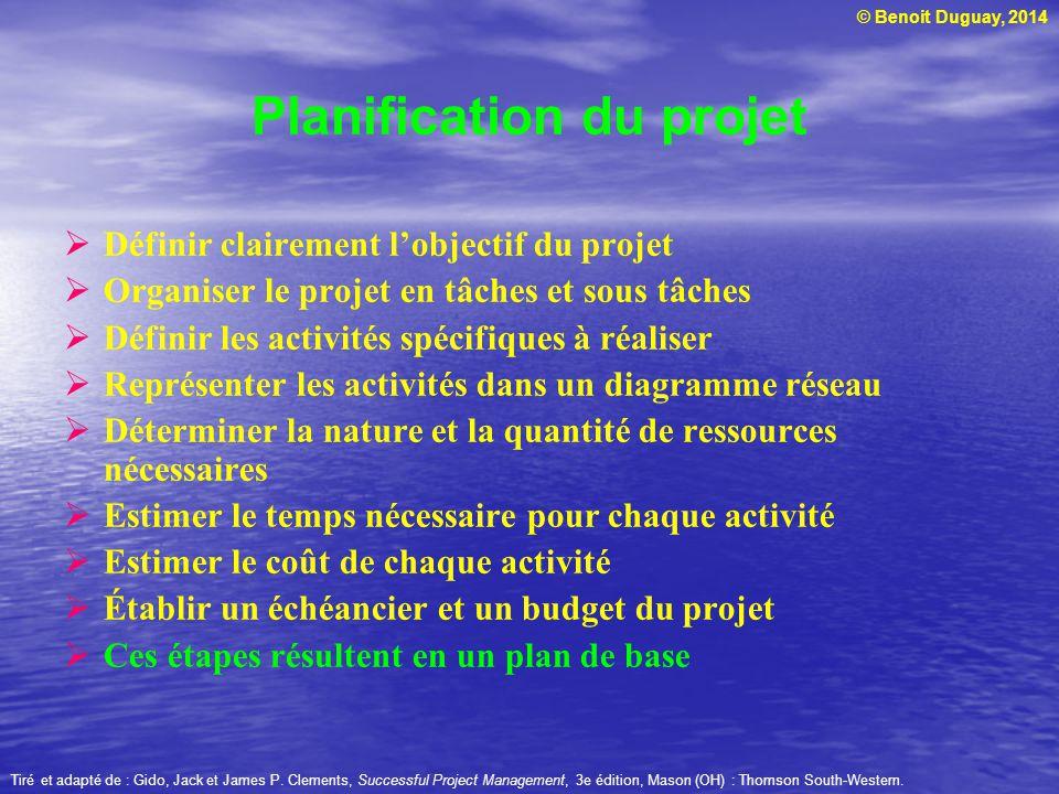 © Benoit Duguay, 2014 Définir clairement lobjectif du projet Organiser le projet en tâches et sous tâches Définir les activités spécifiques à réaliser