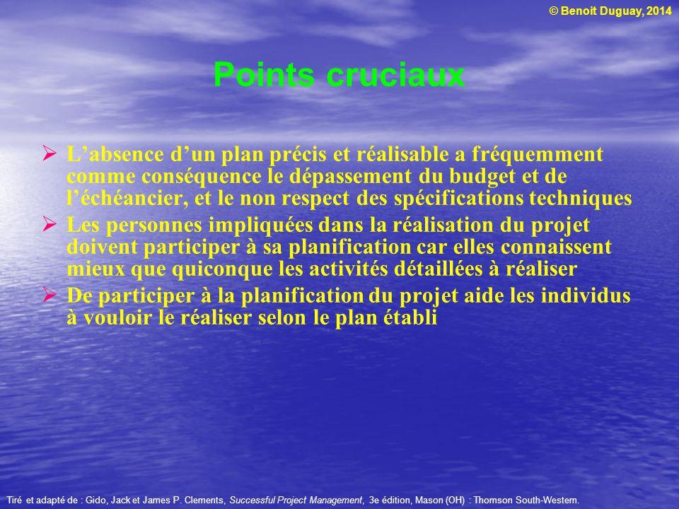 © Benoit Duguay, 2014 Labsence dun plan précis et réalisable a fréquemment comme conséquence le dépassement du budget et de léchéancier, et le non res