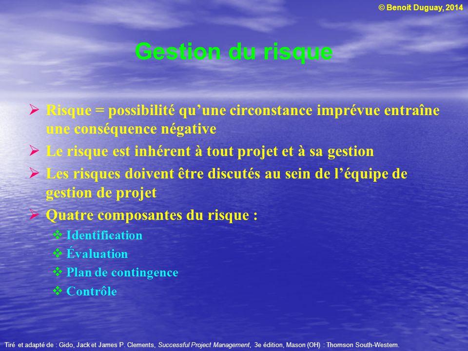© Benoit Duguay, 2014 Identification du risque Définir les sources de risques inhérentes au projet : Technologiques Sociaux Financiers Politiques etc.