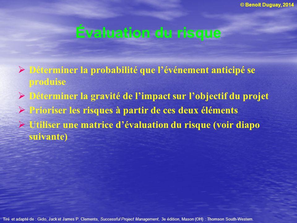 © Benoit Duguay, 2014 Évaluation du risque Déterminer la probabilité que lévénement anticipé se produise Déterminer la gravité de limpact sur lobjecti