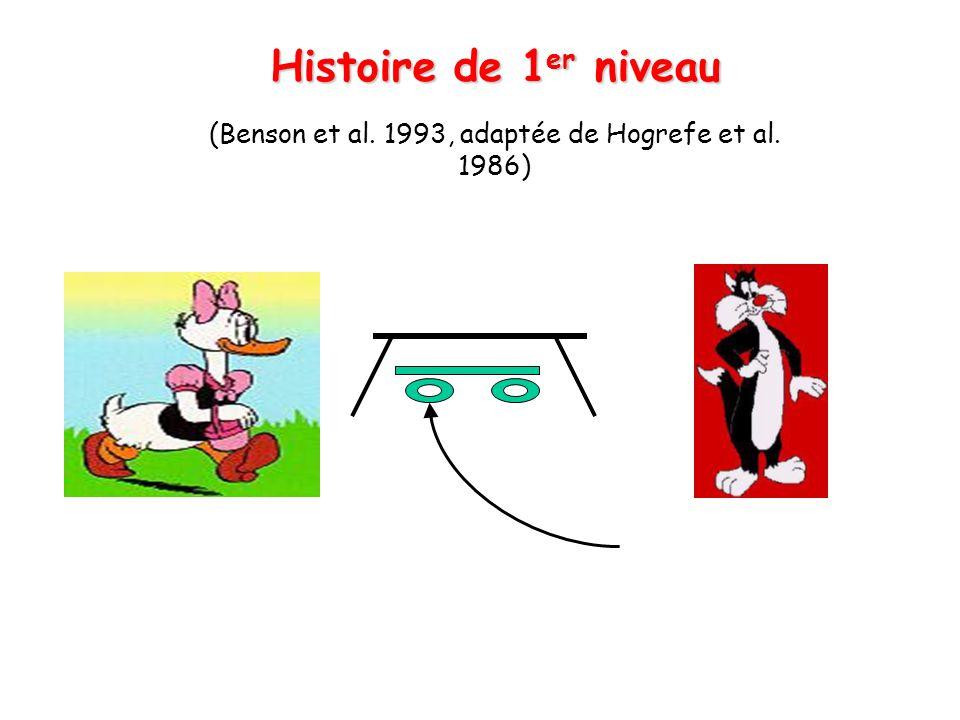 Histoire de 1 er niveau (Benson et al. 1993, adaptée de Hogrefe et al. 1986)
