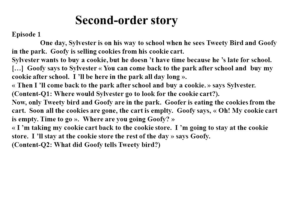 Second-order story Episode 1 One day, Sylvester is on his way to school when he sees Tweety Bird and Goofy in the park. Goofy is selling cookies from