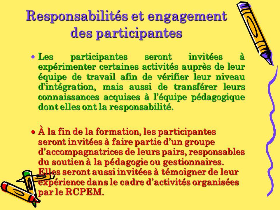 Responsabilités et engagement des participantes Les participantes seront invitées à expérimenter certaines activités auprès de leur équipe de travail