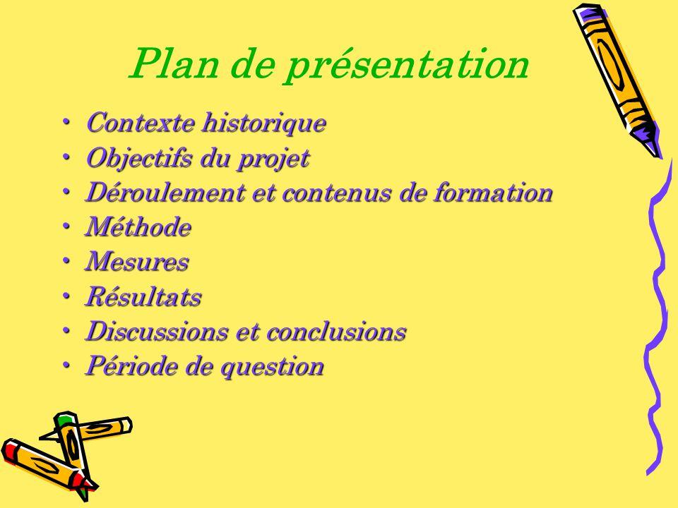 Plan de présentation Contexte historiqueContexte historique Objectifs du projetObjectifs du projet Déroulement et contenus de formationDéroulement et
