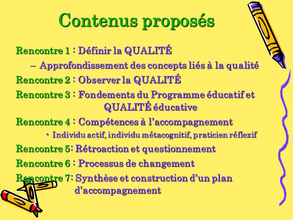 Contenus proposés Rencontre 1 : Définir la QUALITÉ –Approfondissement des concepts liés à la qualité Rencontre 2 : Observer la QUALITÉ Rencontre 3 : F