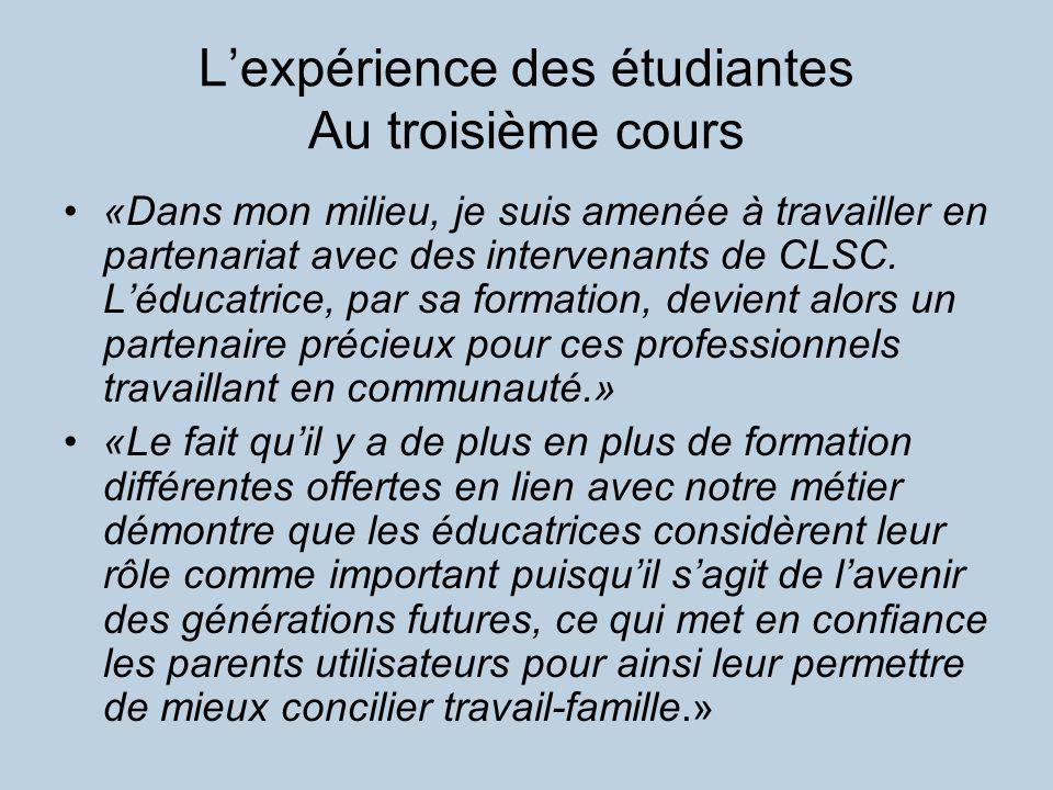 Lexpérience des étudiantes Au troisième cours «Dans mon milieu, je suis amenée à travailler en partenariat avec des intervenants de CLSC.