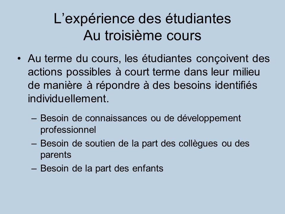 Lexpérience des étudiantes Au troisième cours Au terme du cours, les étudiantes conçoivent des actions possibles à court terme dans leur milieu de manière à répondre à des besoins identifiés individuellement.