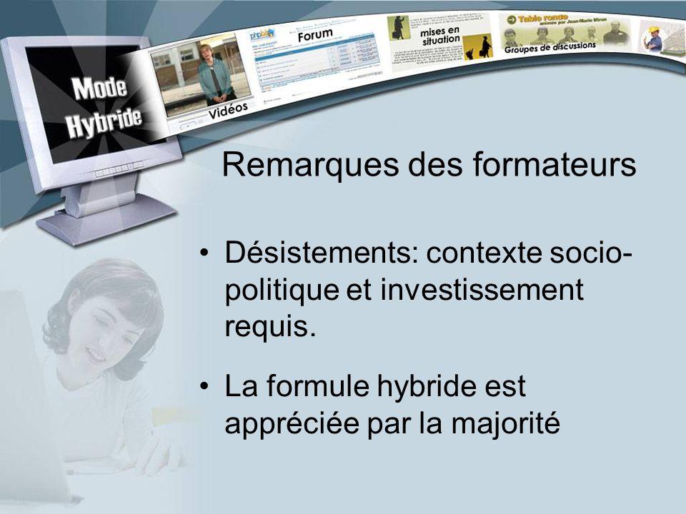 Remarques des formateurs Désistements: contexte socio- politique et investissement requis.