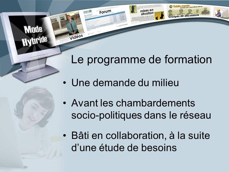 Le programme de formation Une demande du milieu Avant les chambardements socio-politiques dans le réseau Bâti en collaboration, à la suite dune étude de besoins