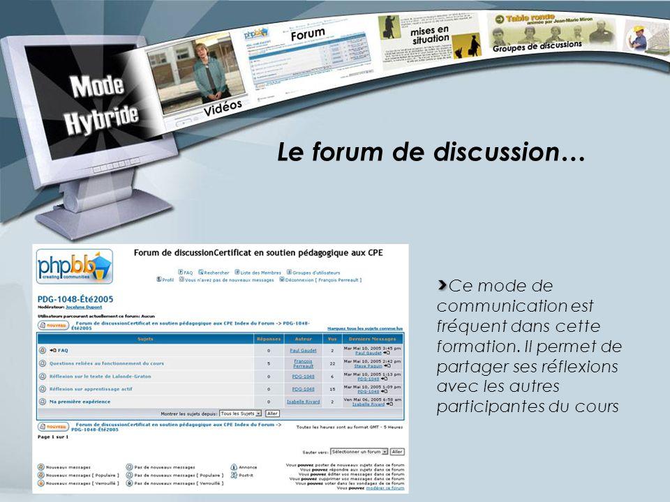Le forum de discussion… Ce mode de communication est fréquent dans cette formation. Il permet de partager ses réflexions avec les autres participantes