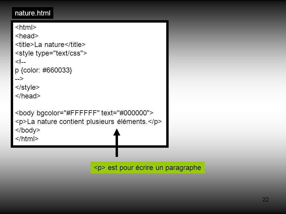 22 nature.html La nature <!-- p {color: #660033} --> La nature contient plusieurs éléments.