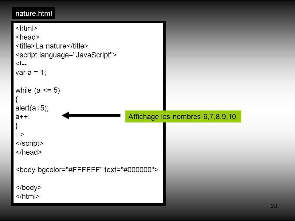 28 nature.html La nature <!-- var a = 1; while (a <= 5) { alert(a+5); a++; } --> Affichage les nombres 6,7,8,9,10.